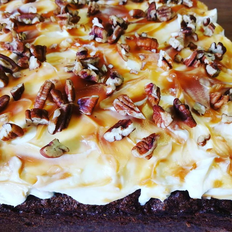 Cake, Sweet Potato, Pecan & Caramel