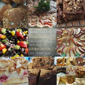 salads, cakes, quiches, pies, meringues, chocolates