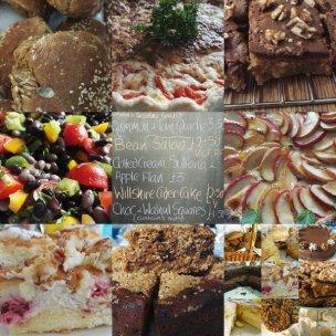 salads, cakes, quiches, pies, meringues, chocolates