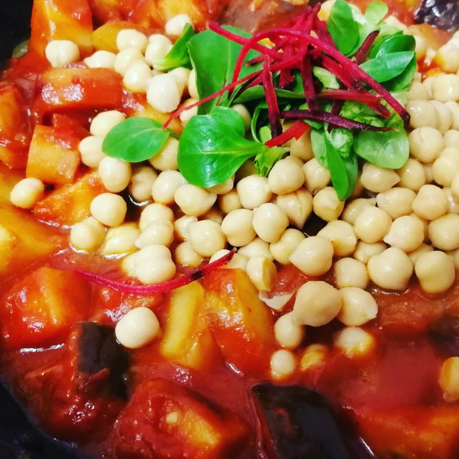 spicy veg,curry,aubergine,recipe,gluten free,chickpeas