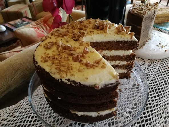 cake, homemade, coffee & walnut, afternoon tea
