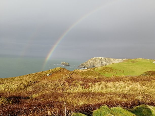 Rainbow, Cornwall, Cliffs, Coastal Path, Tintagel