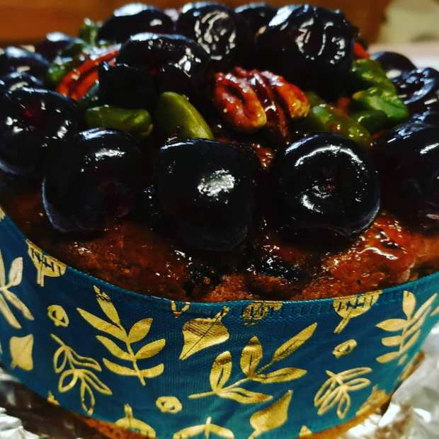 Glace fruits, nuts, vegan Christmas Cake