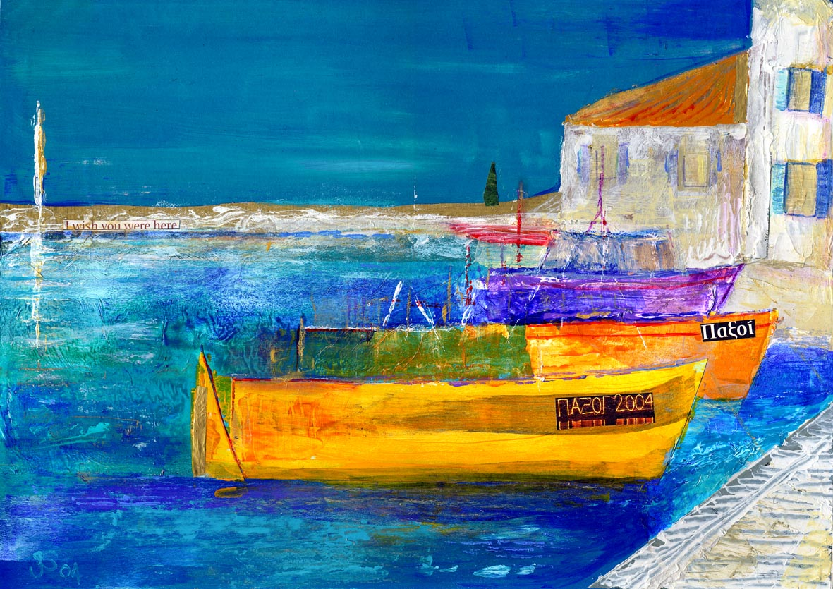 Mixed Media Painting by Jan Steele Yellow greek fishing boats against a blue sea, white buildings