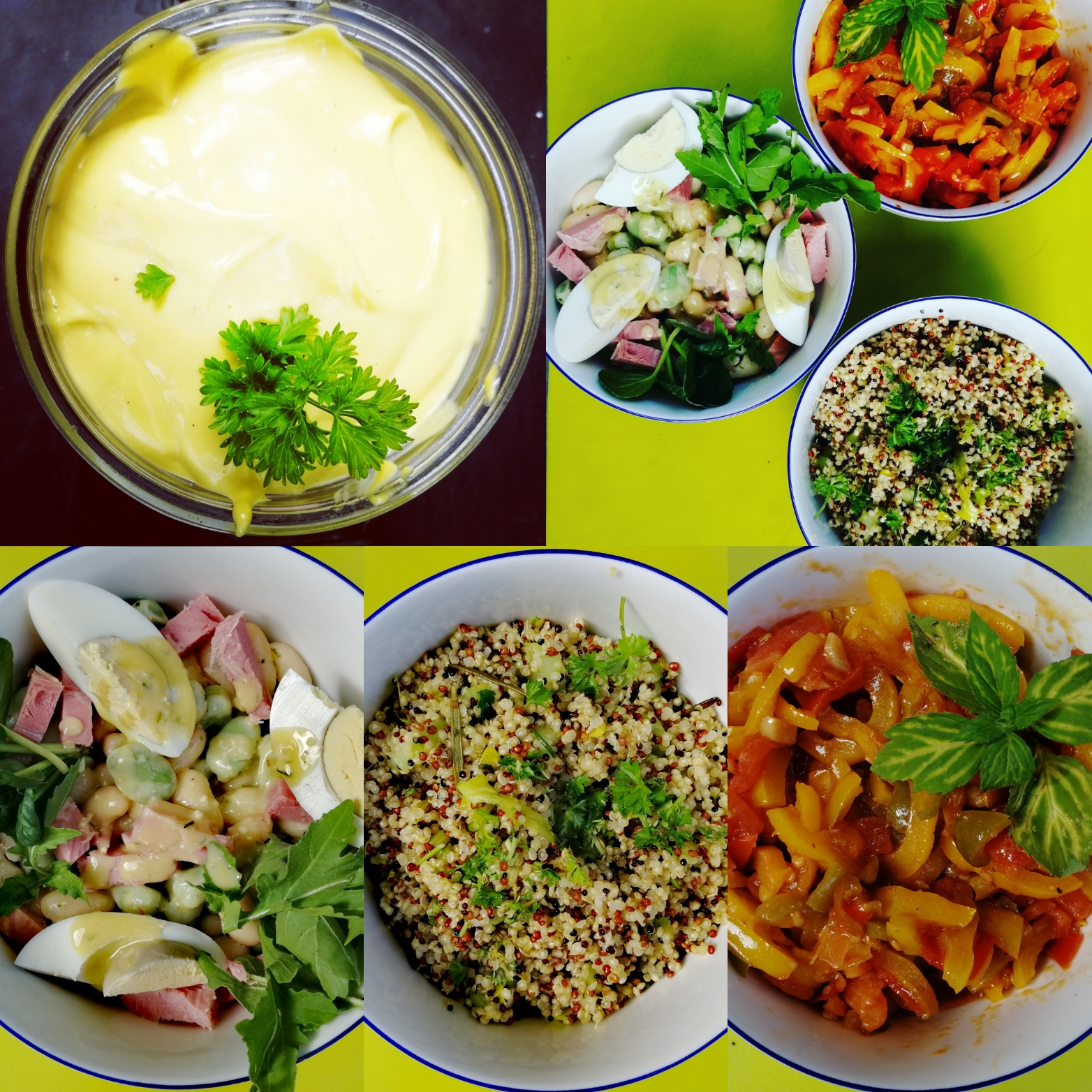 Freshly prepared, homemade salads, grains, beans, fruits, veg, dressings